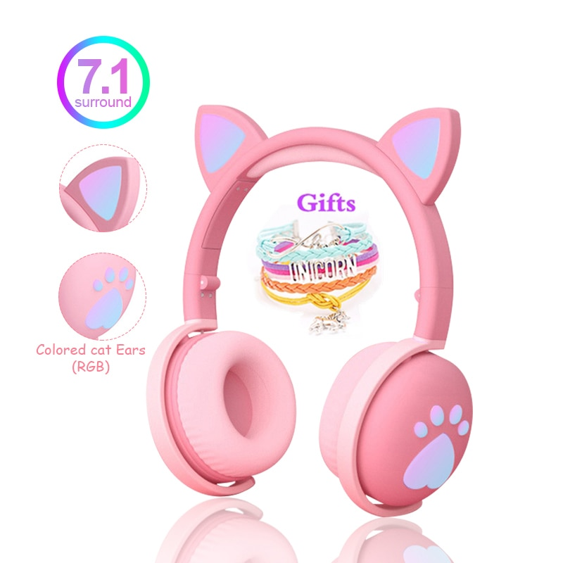 aliexpress.com - Cute Kids Headphones Wireless Earphones,Control LED light Cat Ear Girl Child Gift Blue-tooth Gaming Headset Stereo Bass With Mic