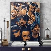 Affiche de musique Tupac de la cote ouest  peinture sur toile imprimee dart mural  image 2PAC pour decoration de chambre a domicile