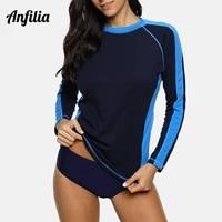 anfilia women quick drying shirts long sleeve rashguard running biking shirt color block hiking rash guard top upf 50