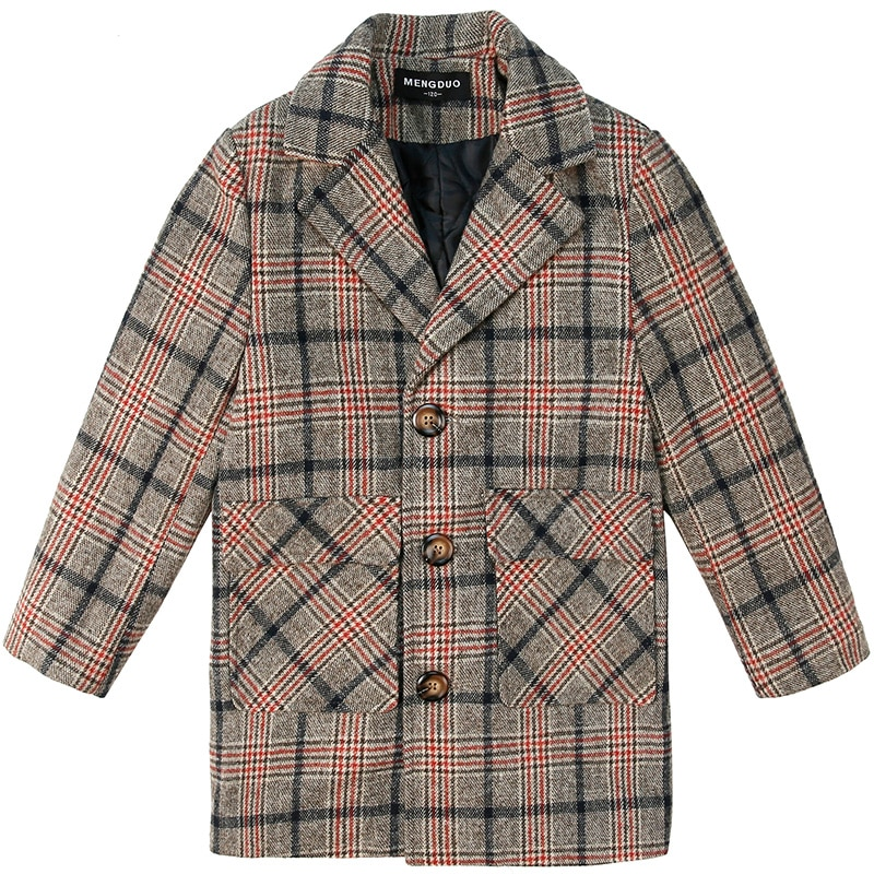 2020  Boy Plus Cotton Thick Fashion Handsome Tartan Coat