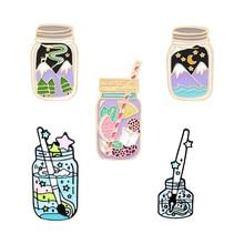 Bottle Colorful Enamel Pin Cartoon Mountain Starry Sky Sea Drink Broochs for Womens Lapel Pins Backp