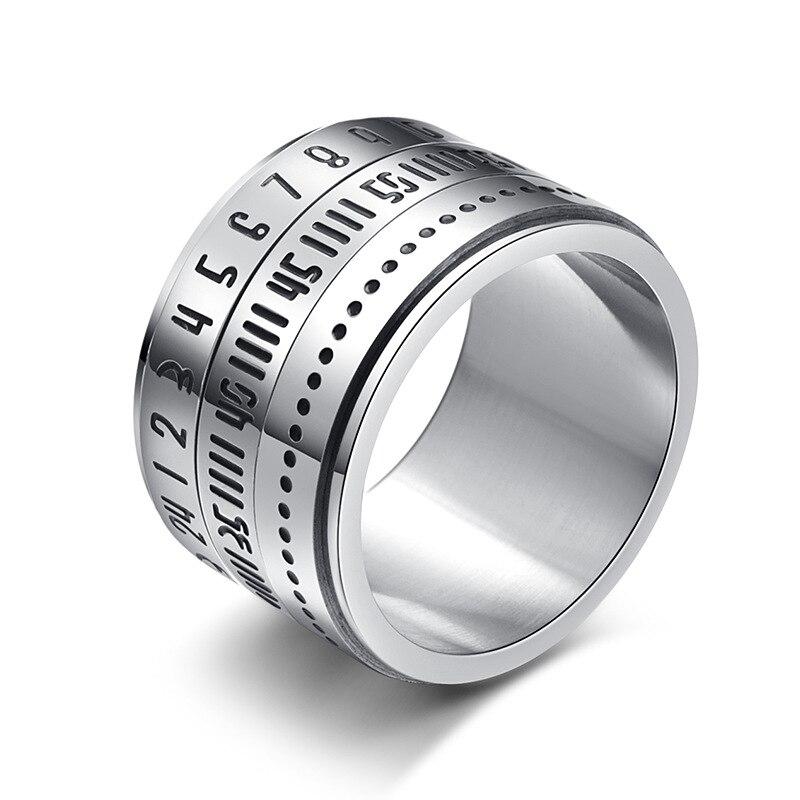 14MM Drehbare Männer der Ring Spinner Ringe mit Datum Zeit Kalender Für Frauen Männer Schmuck Punk Gold Schwarz Silber farbe