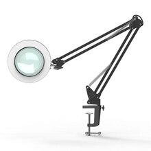 LED moderne anneau lecture lampe de bureau avec pince 5Xlens loupe lumière pince bras oscillant Table lumière Dimmable USB veilleuse