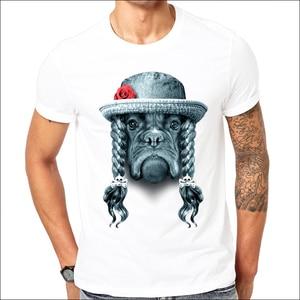 short sleeve design LADY Boxer Dog print Men t-shirt cool funny men's Bulldog tee  casual mens t shirts oversized plus size