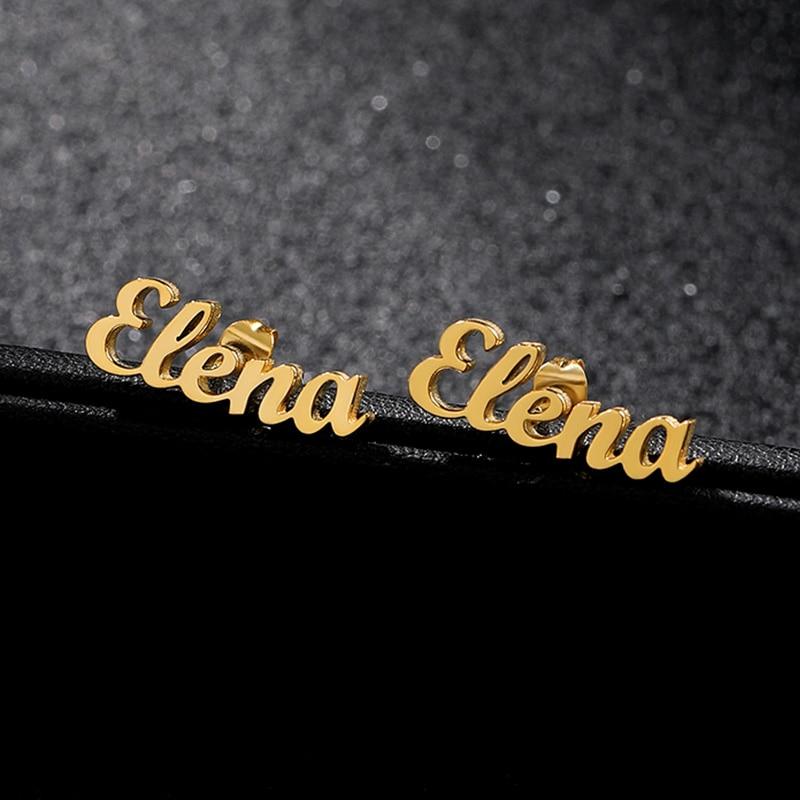 Personalized Name Letter Stud Earrings For Women Girls Stainless Steel Custom Name Piercing Earrings Cursive Nameplate Jewelry