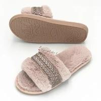 designer girl fashion fur slippers wholesale faux fur cross indoor floor slides pink slides slippers