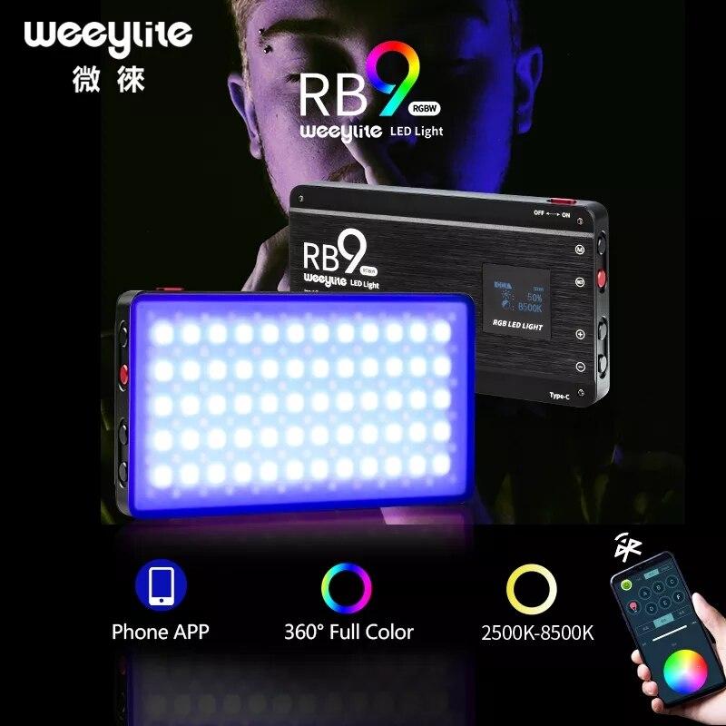 Weeylite-مصباح LED محمول RGB ، مصباح فيديو متعدد الألوان ، قابل لإعادة الشحن والتحكم في تطبيق الهاتف ، RB9 ، 12 وات