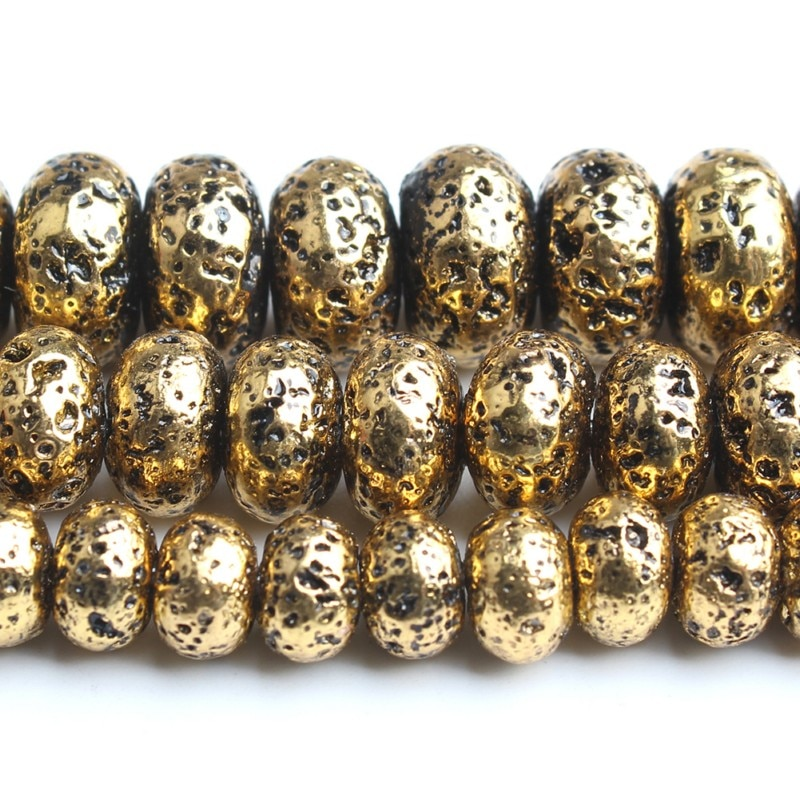 6/8/10 mm Natural Gold Hematite Stone Beads Rondelle Loose Spacer Beads for Jewellery Making DIY Bra