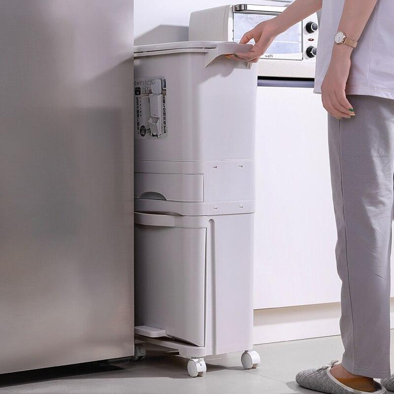 Kitchen Plastic Trash Can Big Rectangular Waste Separation Camper Van Garbage Recycle Paper Basket Office Bote De Basura Dustbin enlarge