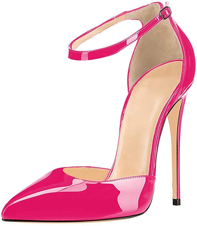 Vestido de Casamento Feminino Sexy Slingback Apontou Toe Tornozelo Cinta Stilettos Salto Alto Festa Sapatos Tamanho Grande 34-46 Pumps12cm
