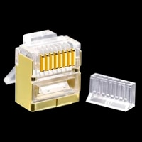 cncbo flat cat6 ftp gold plated copper shell rj45 ethernet connector modular computer network plug gigabit