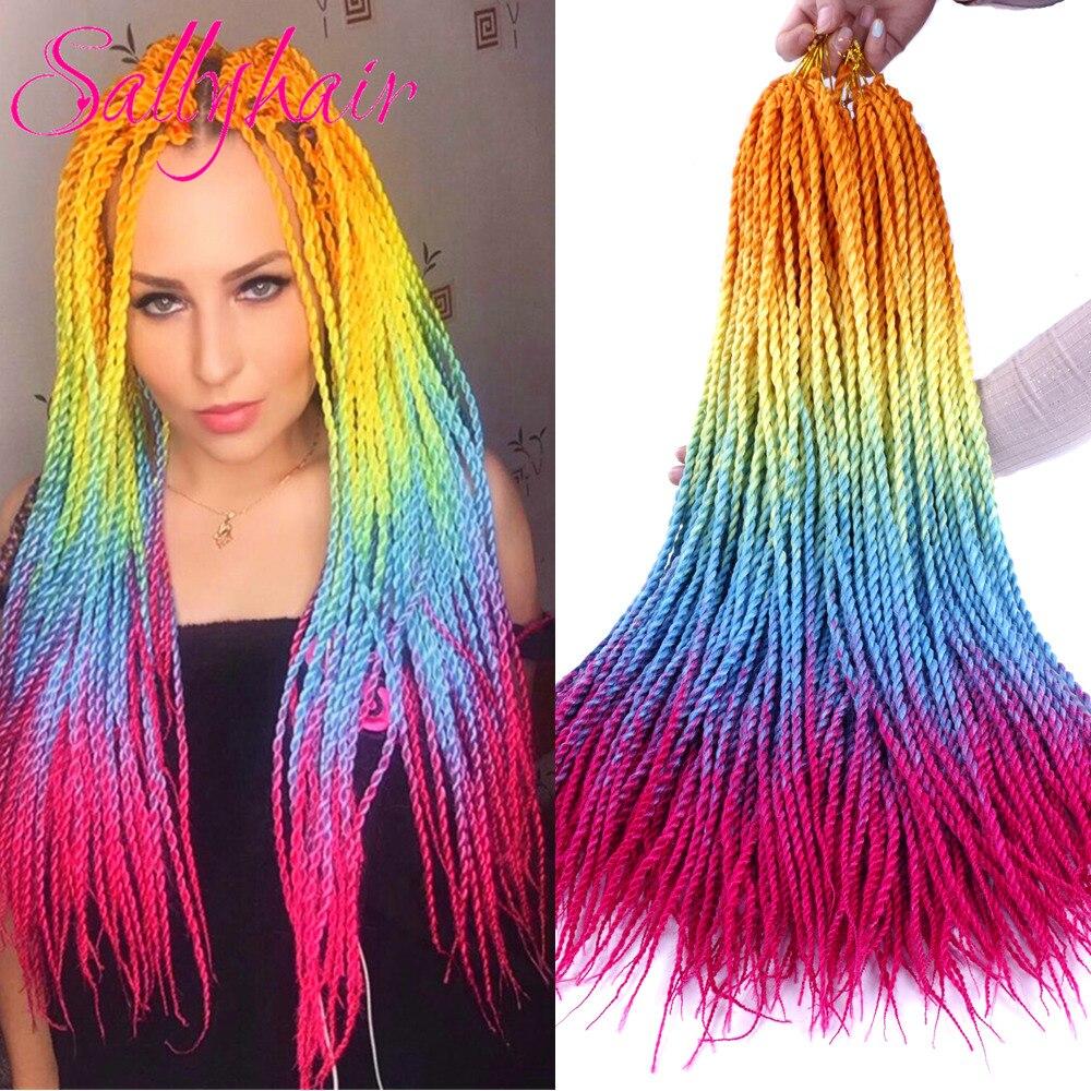 Sallyhair 24 zoll 20 Stränge Ombre Farbe Senegal Twist Zöpfe Haar Extensions Hohe Temperatur Synthetische Häkeln Flechten Haar