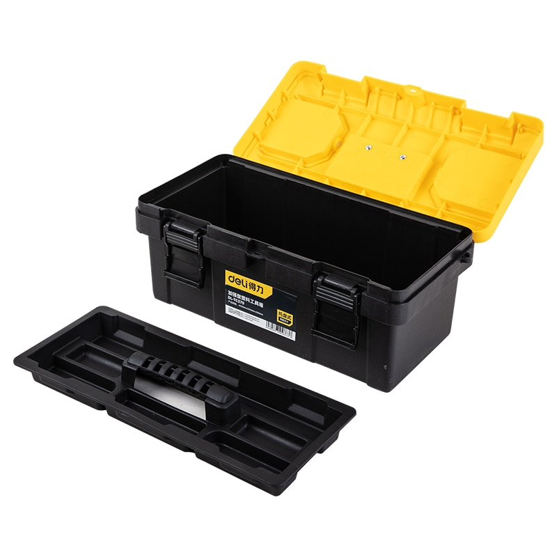 Deli 17-Inch Reinforced Toolbox Plastic Tool Box Tool Storage Box Daily Storage Parts Storage Tool Organizer Two-Tier Structure