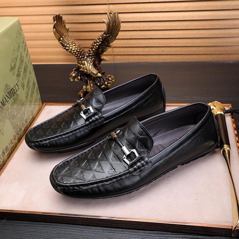 Мужские кожаные туфли Весна-лето 2021, повседневные мужские туфли с мягкой подошвой, Молодежные туфли из воловьей кожи для бега.