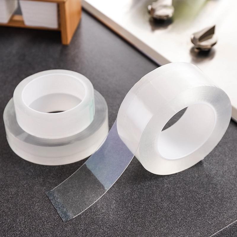 Cinta adhesiva transparente de doble cara, pegatina impermeable sin rastro, extraíble y limpio para fregadero de esquina Universal