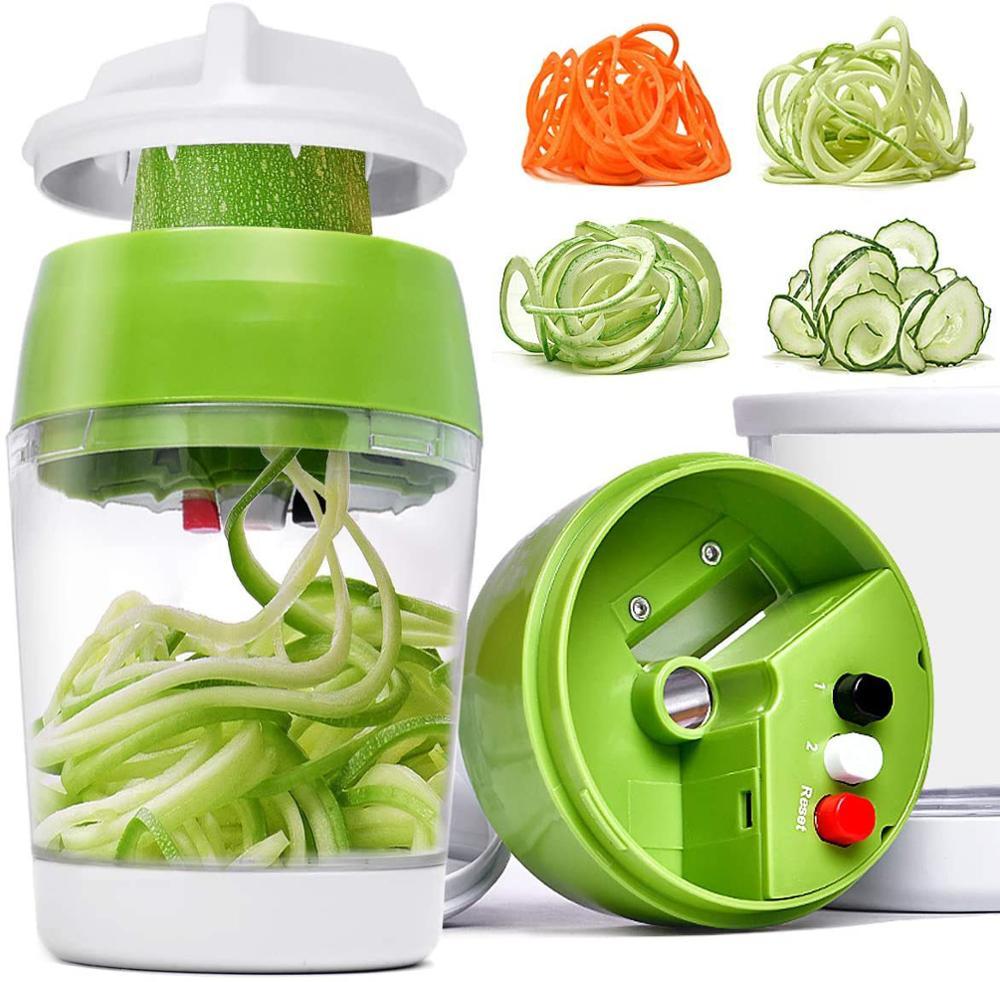 AliExpress - 5 in1 Handheld Spiralizer Vegetable Slicer Adjustable Spiral Cutter with Container Zucchini Noodle Spaghetti Maker Spiral Slicer