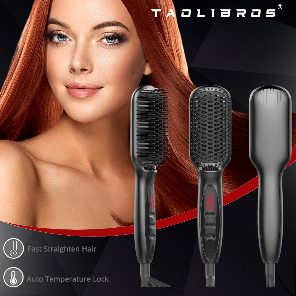 Professional Hair Straightener Brush with Fast MCH Ceramic Heating Automatic Temperature Locking Anti-scalding Hair Straightener