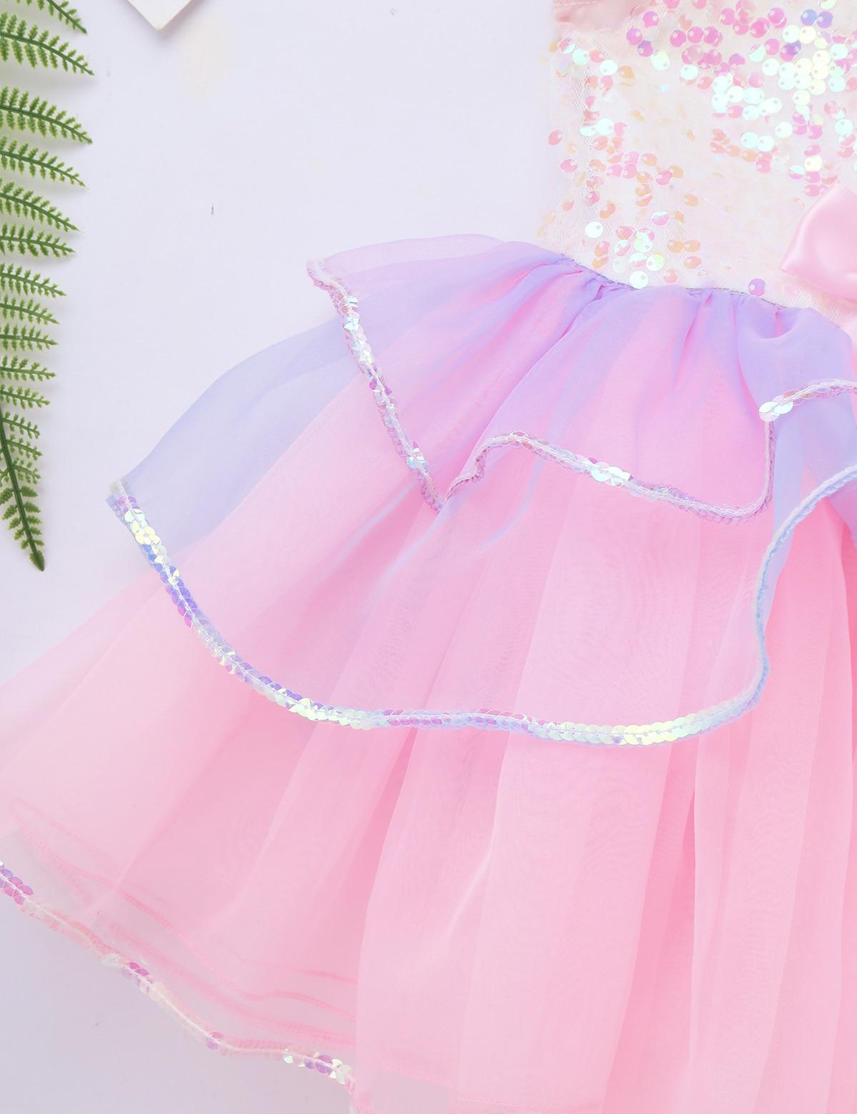 Tutu Ballet Dress for Girls ballerina tulle costume Shiny Sequins Mesh Splice Bowknot Ballet Dance Gymnastics Leotard Tutu Dress