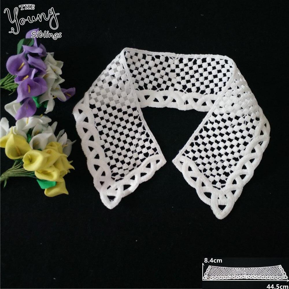 Nueva llegada blanco bordado hueco hacia fuera DIY encaje cuello costura tela de encaje para cuello Ropa Accesorios artesanía suministros YL1402