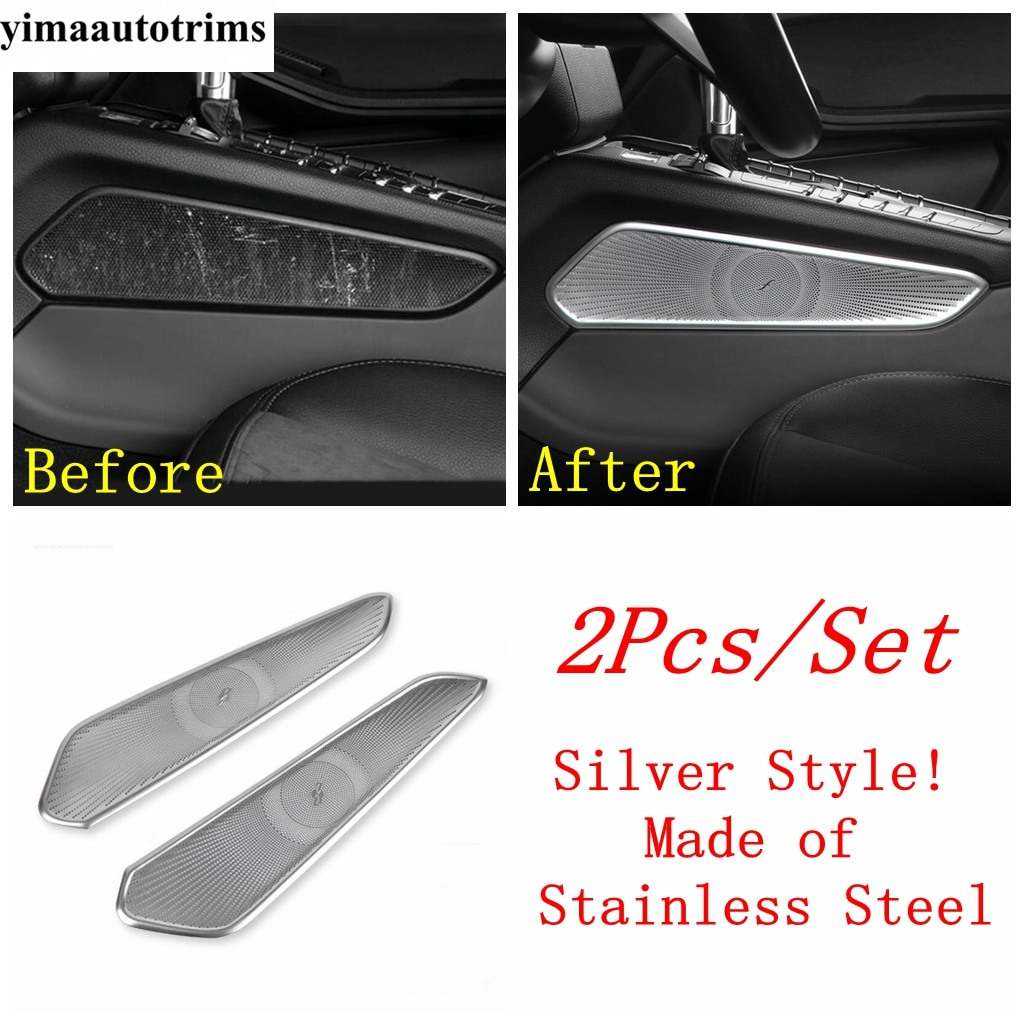 Stainless Steel Accessories Central Gearbox Shift Speaker Sound Panel Decor Sequin Cover Kit Trim For Porsche Macan 2014 - 2020 enlarge
