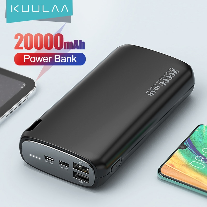 KUULAA Power Bank 20000mAh Portable Charging Poverbank Mobile Phone External Battery Charger Powerba