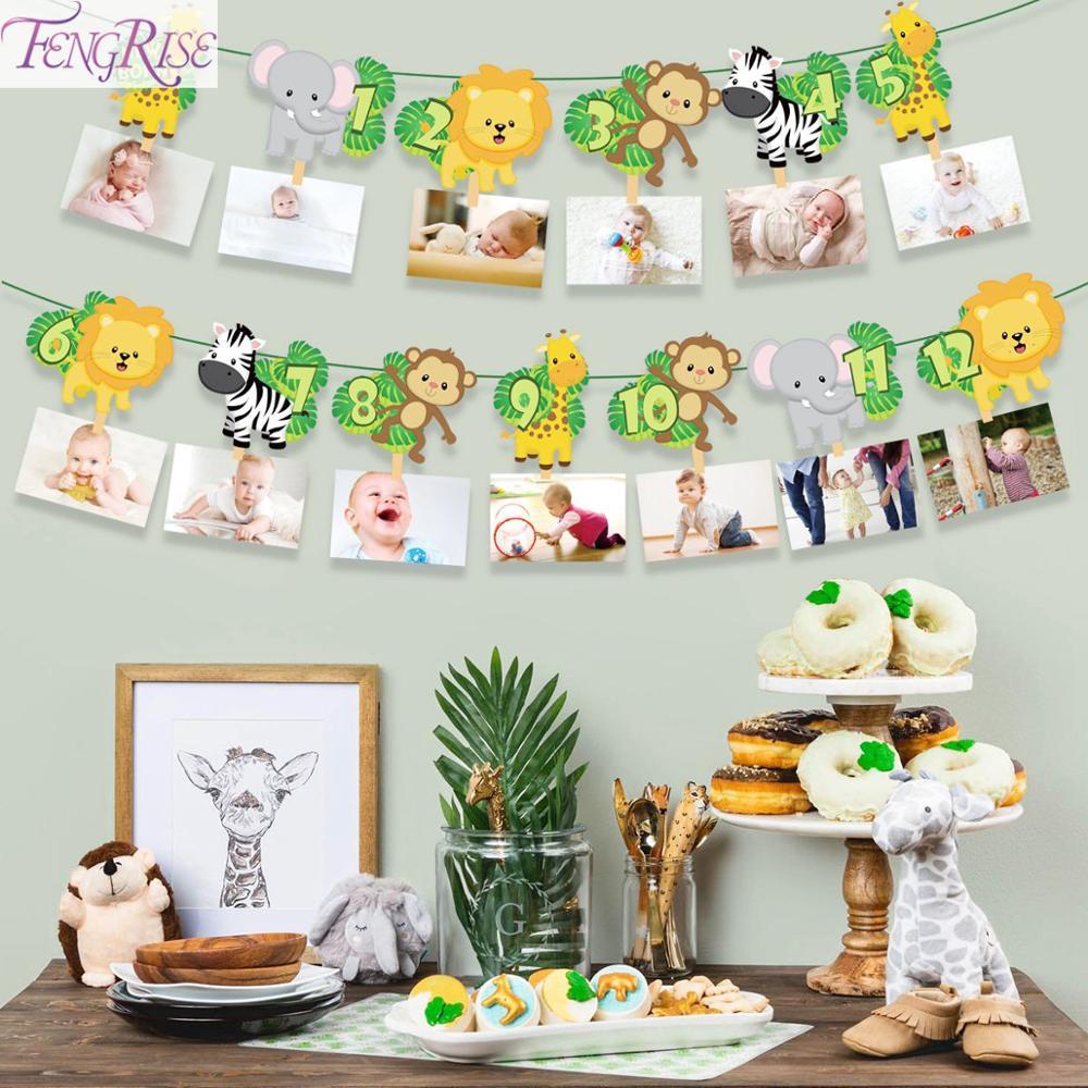 FENGRISE украшения на день рождения, детский плакат, сафари, джунглей, животных, баннеров, детских подарков, украшения на день рождения, гирлянды