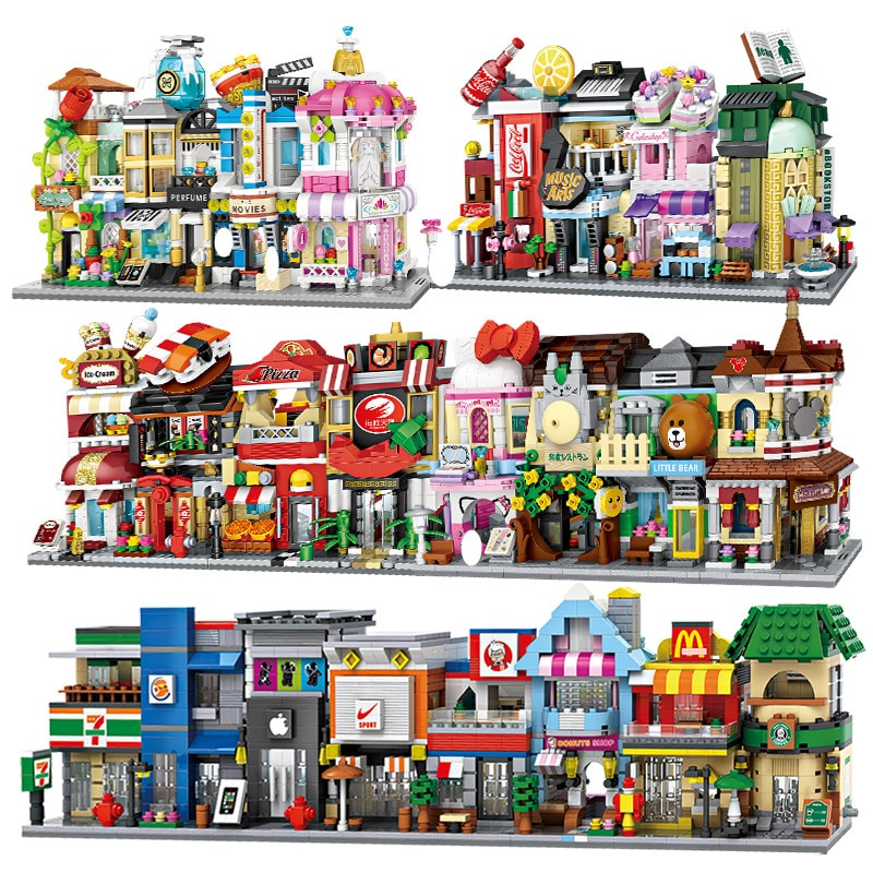 LOZ Mini Street View City Building Blocks DIY Assembly Educational Bricks 3D Architecture Model Store Shop Kids Gift Xmas Toys 280 pcs mini city street view building blocks coffee shop hamburger store city diy bricks toys for children christmas gifts