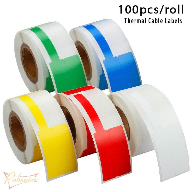 100 Uds./rollo de etiquetas adhesivas de Cable térmico red impermeable Ethernet marcador organización etiqueta pegatinas 78*25/80*30mm