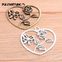 2PCS 46*52mm Neue Produkt Zwei Farbe Rose Blume Schmetterling Charms Herz Anhänger Schmuck Metall Legierung Schmuck kennzeichnung