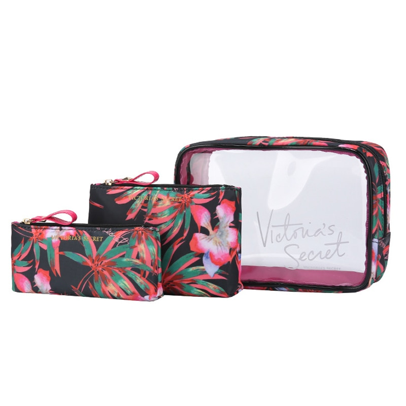 The new portable PVC cosmetic bag 3-piece set outdoor travel bag Makeup bag organizer bagwaterproof wash bag fashion transparent