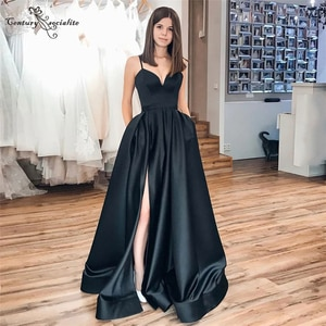 Black Evening Dresses Long 2021 with Slit Pockets Straps Zipper Back Simple Satin Formal Dress Prom Party Gowns Robe De Soiree