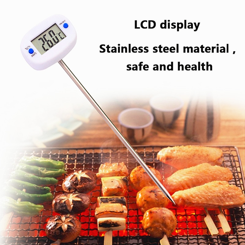 2021 New Electronic Probe Thermometer Digital Food Thermometer BBQ Thermometer Oven Milk Water Oil Kitchen Cooking Thermometer