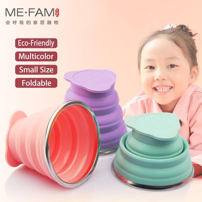 ME. FAM новая мини 150 мл силиконовая складная чашка из нержавеющей стали С Пылезащитным покрытием для улицы складная дорожная детская чашка для воды