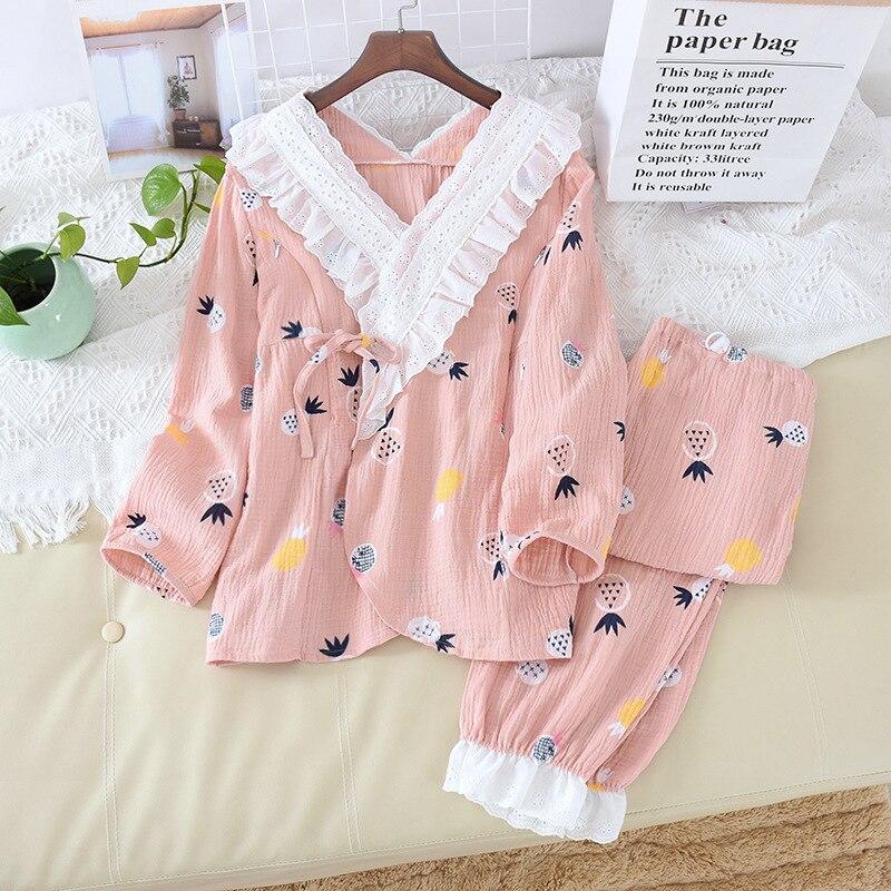 Fdfklak 2PCS Spring Sutumn New Maternity Pajamas Pijamas Women Cotton Long Sleeve Nursing Pajama Pink Pregnancy Clothes enlarge