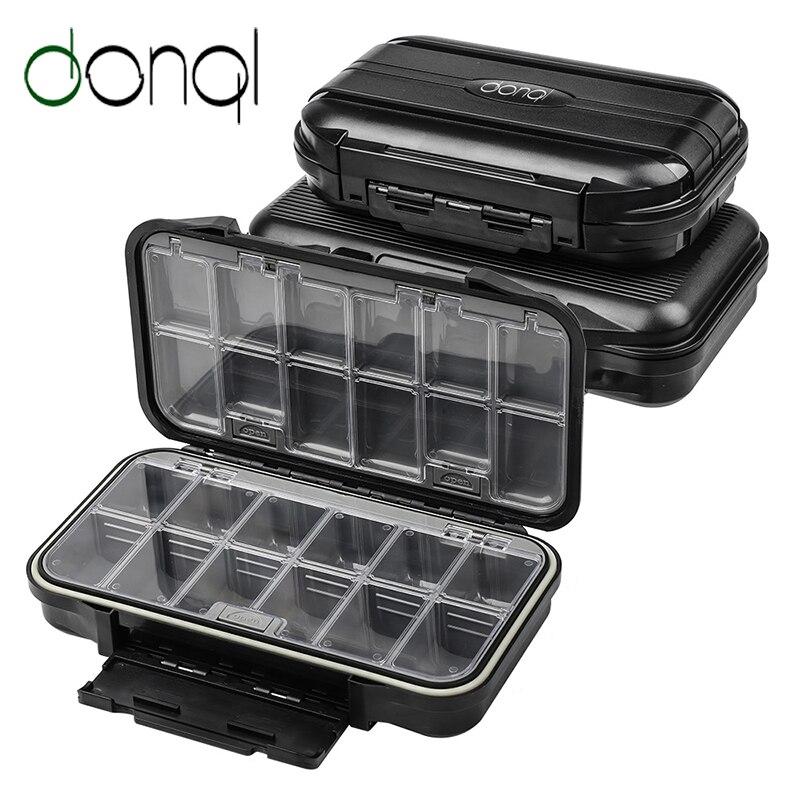 Caja de pesca DONQL resistente al agua, asiento de plástico transparente, caja de señuelos de pesca, organizador de cajas de aparejos de pesca con mosca