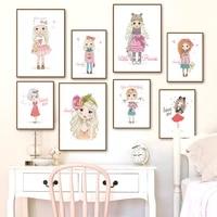 Toile dart mural  peinture de fleurs  affiches et imprimes de dessin anime pour filles  images murales pour chambre denfant  decor de maison
