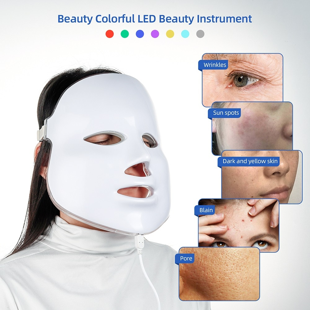 7 Colors Led Facial Mask Beauty Skin Rejuvenation Wrinkle Acne Removal LED Face Light Therapy Whitening Tighten Instrument