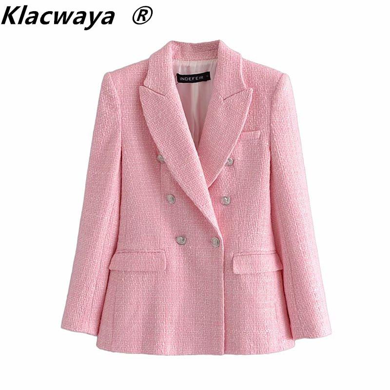 Klacwaya Za 2021 Blazer Women Fashion Pink Plaid Texture Casual Blazer Spring Autumn Office Double breasted Blazer Coat