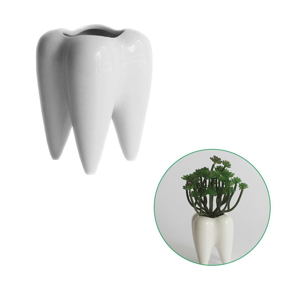 Weiß Keramik Fleischigen Kleine Blumentopf Zahn Form Tisch Anlage Topf Home Dekoration Zahn-Förmigen Desktop Keramik Blumentopf