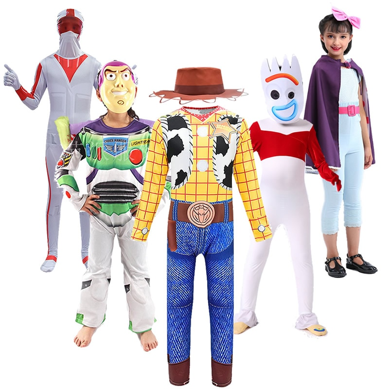 Kids Halloween Toy Story Woody Jumpsuit Jessie Dress Boys Girls Buzz Lightyear Costume Forky Bo Peep Cosplay Duke Caboom Outfits