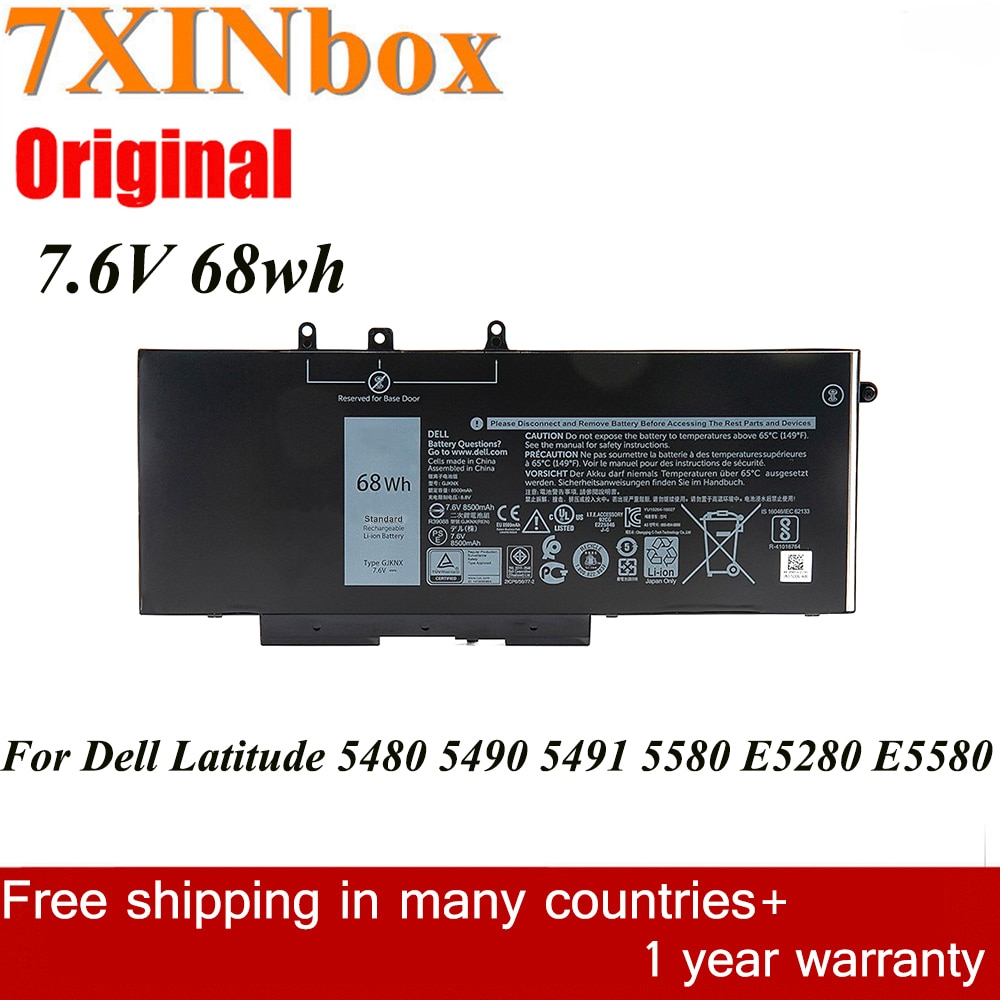 7XINbox 7.6V 68wh الأصلي GJKNX GD1JP بطارية كمبيوتر محمول لديل خط العرض 15 5580 5480 5280 M3520 M3530