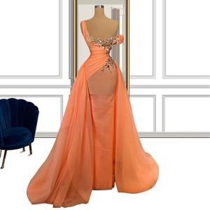 Orange Rhinestones Saudi Arabia Israel Turkey Summer Tulle Evening Dresses robe de soirée de mariage Women Celebrity Dresses