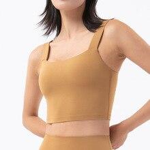 2021 new nude gathered shockproof sports vest women's sling deep U beauty back yoga vest sports bra