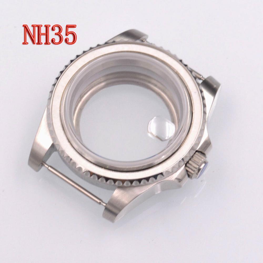 Ajuste japão nh35 nh36 movimento 40mm assista caso vidro de safira