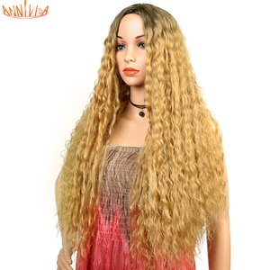 """Annivia Long Curly Wigs For Black Women Synthetic Long Wavy Wig With Middle Parting Ombre Blonde Glueless Cosplay Hair Wigs 26"""""""