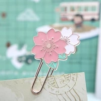 1pc sakura blossom pink white black metal bookmarks paper clip marker of page student school office supply