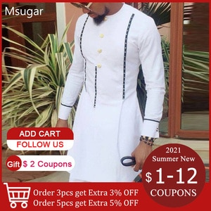 Men T-shirt African Traditional White Tshirts Spring Fall Long Sleeve Tops Tee Shirt For Male 2021 Fashion Trend
