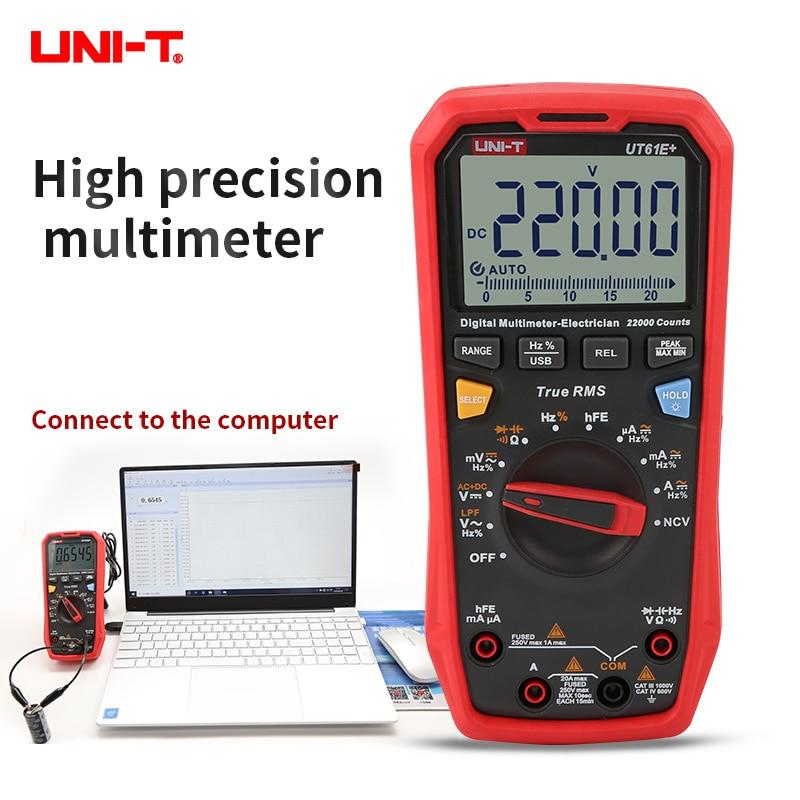 UNI-T متعدد رقمي UT61E زائد 22000 التهم USB نقل البيانات السيارات المدى المهنية تستر الجهد الحالي متعدد
