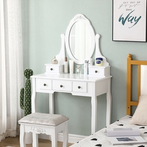1PC Dressing Table Setting With Mirror Stool Retro Dressing Table Girl Bedroom Five Drawer Dressing Table Bedroom Decoration HWC