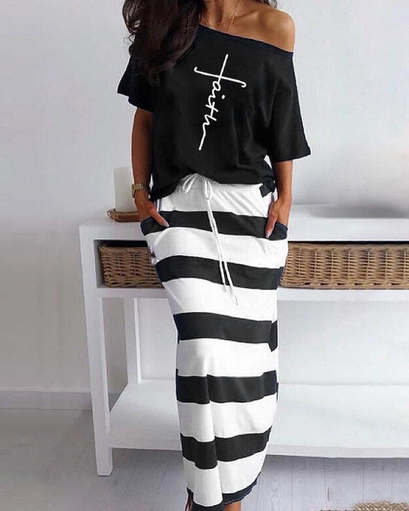 Conjunto de falda Maxi a rayas Casual con estampado de letras